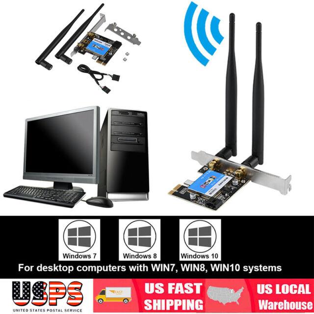 Desktop PC Dual Band PCI-E 2.4G-300M//5G-867M Bluetooth 4.0 Wireless-AC Wifi Card