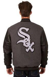 Chicago-White-Sox-Wool-amp-Leather-Reversible-Jacket-With-Embroidered-Logos-Gray