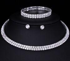 Boda nupcial Gargantilla 2 filas Juego Collar Aretes Pulsera Diamante de Imitación
