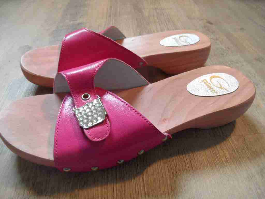 Gallucci Beautiful Wooden Mules Pink M. Rhinestone-Buckle Size 6 37 NEW zc1116