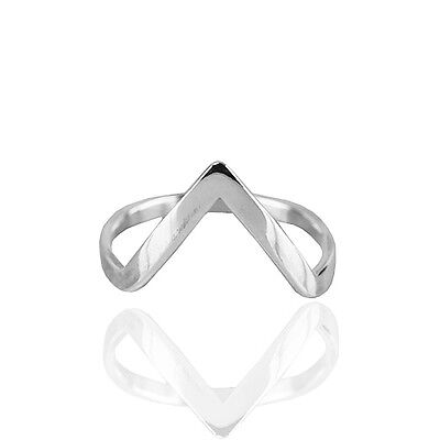Fine Rings sr591 Bright Plain Solid .925 Sterling Polished Silver V Shaped Ring