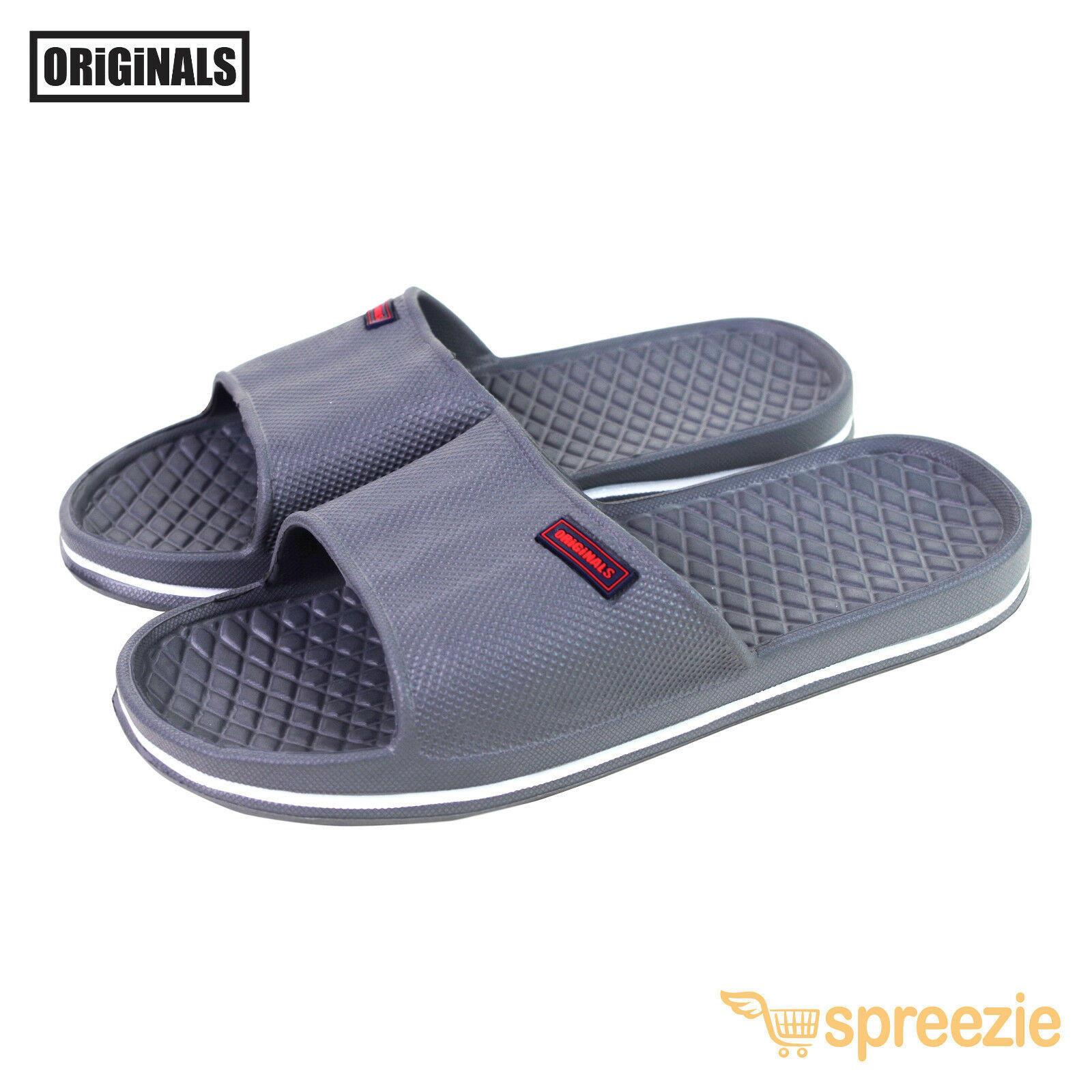 Grey Men's Sandals Sport Slides Slip On Beach Slippers House Shoes Footwear New
