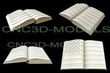3d Stl Model For Cnc Router Carving Artcam Aspire Usa Flag America Book D604