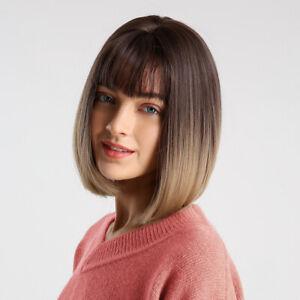 Moda-Parrucche-Fatto-da-Vera-Capelli-Nero-Gradiente-Marrone-Botti-Naturale-Bobo
