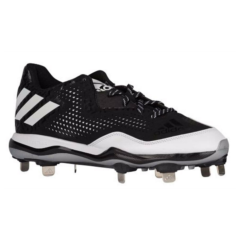 96620c571 adidas Mens Power Alley 4 Metal Baseball Cleats Q16481 Black White ...