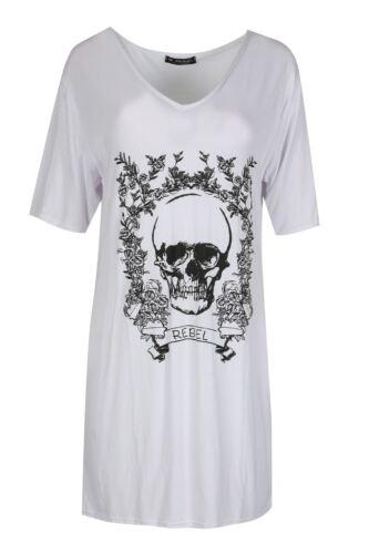 Ladies Womens Halloween Oversize Rebel Floral Skull V Neck PJ Shirt Baggy Dress