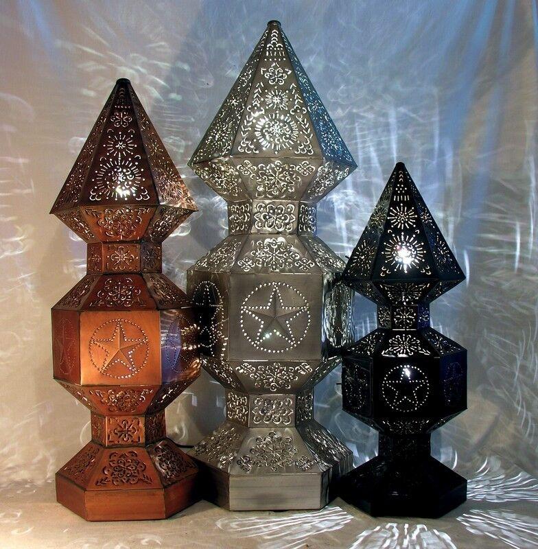 Tower Light Floor Lamp-Tin w  Star or Sunburst Motif, 4 Patina Finishes, 3 Größes