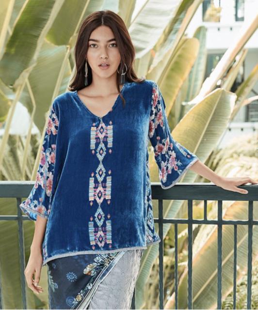 💕 JOHNNY WAS Silk FABIANA V Neck Velvet BURNOUT Print 3/4 Sleeve Blouse Top S