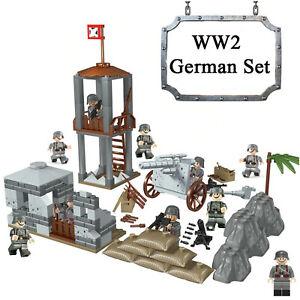 Base-Militare-WW2-Set-10-soldati-dell-039-esercito-Germania-BLOCCHI-Fit-LEGO-UK-Venditore