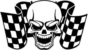 skull racing flags vinyl decals graphics stickers tank helmet