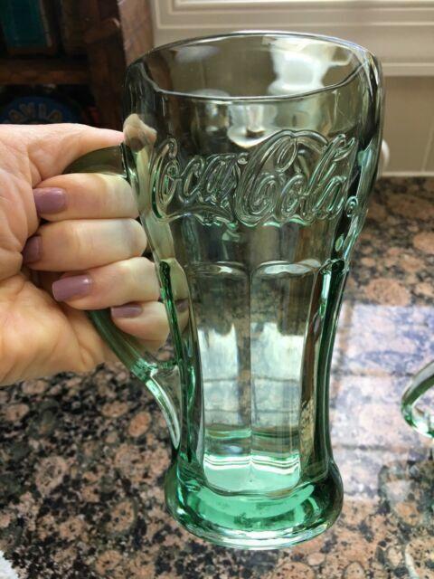 Vintage Set Of 4 Libbey Green Verde Coca Cola Glasses Handles 14oz Heavy Coke For Sale Online Ebay