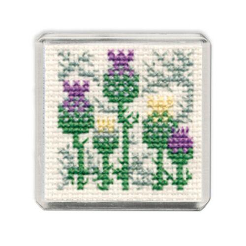 Fridge Magnet Scottish Cross Stitch Kit; /'Scottish Thistle/' by Textile Heritage