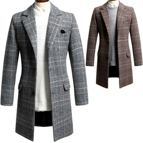 Mens Luxury Dandy Modern Slim Fit Glen Check Long Coat Blazer Jacket Jumper T082