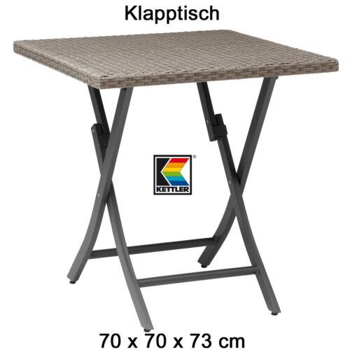 KETTLER Klapptisch 70 x 70 cm Geflechttisch Aluminium und Geflecht Balkontisch