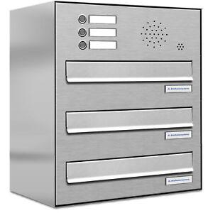 Details zu 3er Premium V2A Zaun Durchwurf Briefkasten mit Klingel 3 Fach  Postkasten A4