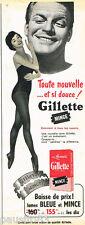 PUBLICITE ADVERTISING 085  1958  Les lames de rasoir GILETTE  BLEUE & MINCE