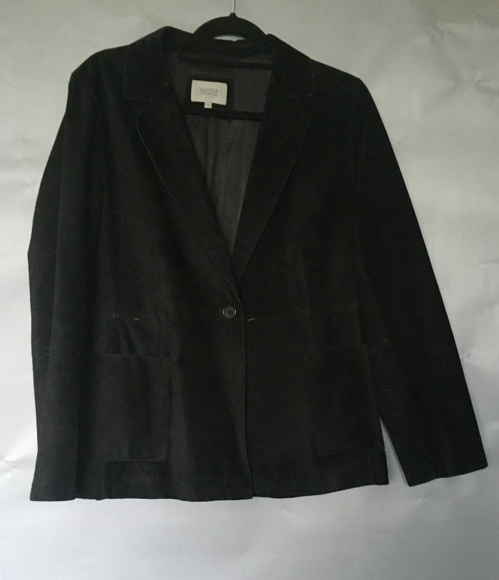 M&S Black Soft Suede Real Leather Jacket UK 16 VGC