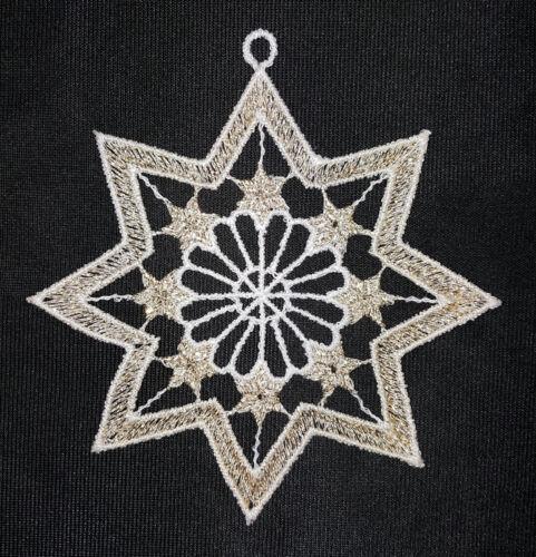 Plauener dentelle ® Fensterbild 6er set Hiver Noël étoiles baumbehang Gold