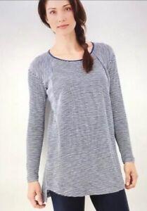 69-J-Jill-White-amp-Blue-Striped-Textured-Waffle-Knit-Long-Sleeve-Tunic-Size-M