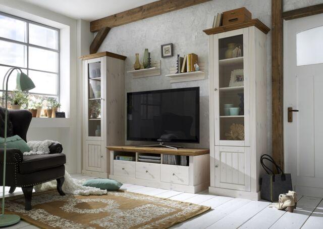 STEENS Wohnwand Wohnkombination MONACO Kiefer Massiv Landhaus Weiß Provence