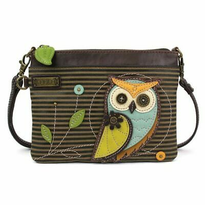New Chala Mini Crossbody Bag Pleather Purse Convertible Owl Olive Green Stripes Ebay