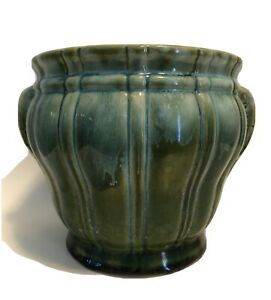 GREEN-TEAL-TURQUOISE-GLAZE-VERTICAL-RIB-HEAVY-OLD-JARDINERE-PLANTER