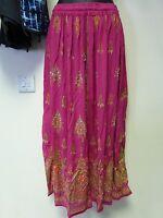Ladies Indian Bollywood Sequin & Floral Print Long Crinkle Skirt - Pink