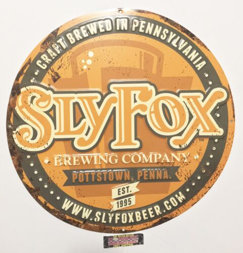 "Brand New! Sly Fox Brewing Company Pottstown PA Metal Beer Sign 17.5"" Diameter"