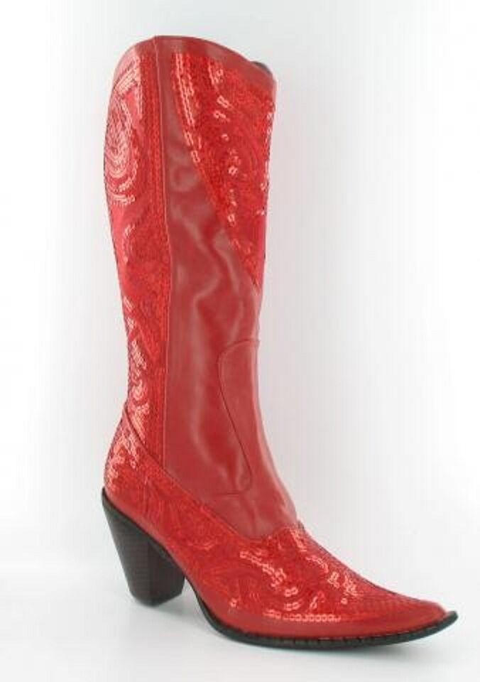 online economico RED SEQUINED COWBOY stivali Helen's Heart SZ SZ SZ 10 REG  300 NEW IN BOX 3 H  ottima selezione e consegna rapida