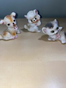 Vintage-Ceramic-Sugar-Textured-Figures-Japan-Cat-Dog-And-Monkey