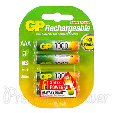 4 x GP Rechargeable AAA batteries 1000mAh min 950 NiMH LR03 Phone DTC Pack of 4