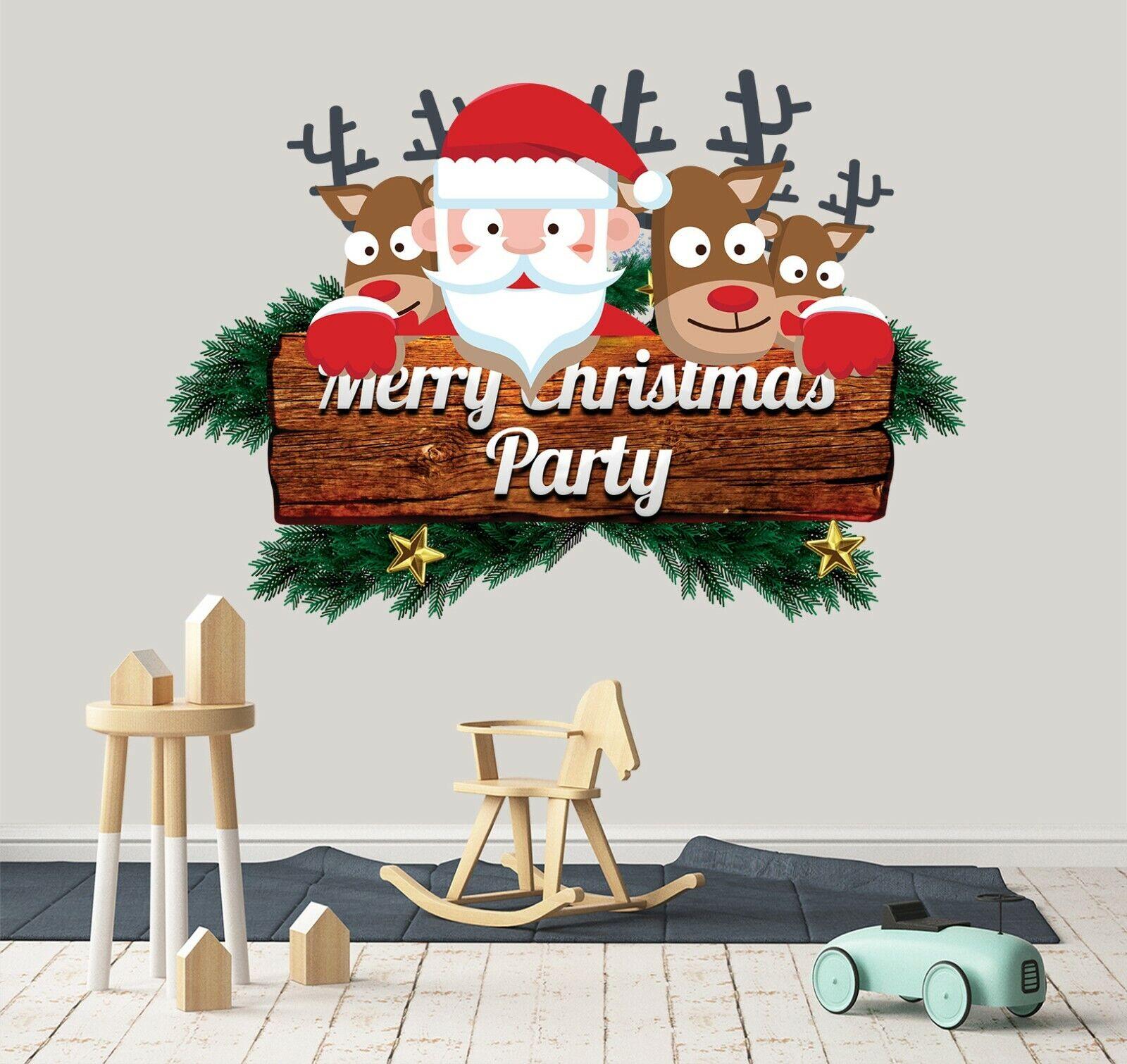3D Santa Claus Deer B073 Christmas Wallpaper Murals Wall Print Decal Wall Zoe