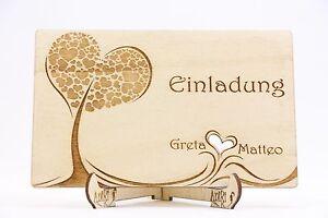 Holz Einladungskarten Laser Graviert Hochzeit Einladung Baum