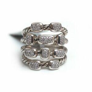 c6afa56484af9 New DAVID YURMAN Wide Confetti Diamond 4 Row Ring in Sterling Silver ...