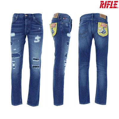 JEANS UOMO RIFLE SLIM FIT 73176 GAMBA DRITTA denim cotone elasticizzato pantalon