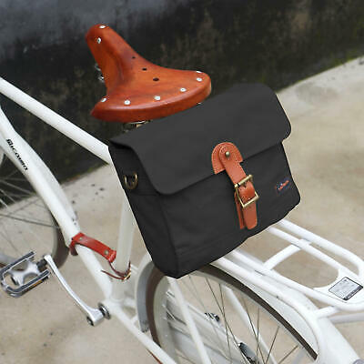 Tourbon Canvas Bike Rear Seat Bag Waterproof Commuter Single Pannier Black