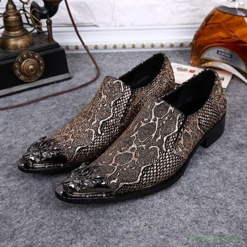 Mens Leather Formal Loafers shoes Slip On Dress Metal Pointy Toe Wedding Fashion