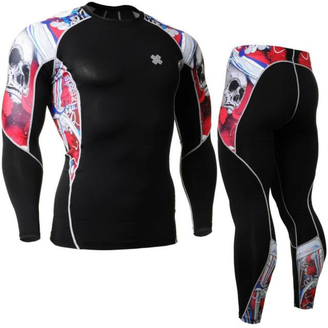 FIXGEAR C2L/P2L-B19R SET Compression Shirts & Pants Skin-tight MMA Training Gym