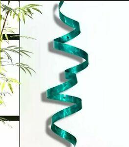 Details About Metal Ribbon Sculpture Modern Teal Wall Art Unique Decor