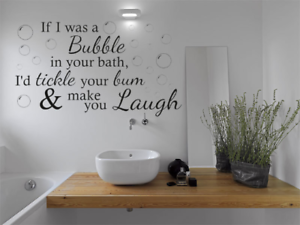 funny wall quote if i was a bubble bathroom wall art sticker quote rh ebay co uk Bathroom Signs and Sayings Funny Bathroom Quotes SVG