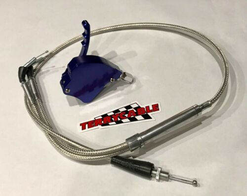 Banshee Large Big Carb Steel Braided Terrycable Throttle Cable Blue Billet Thumb
