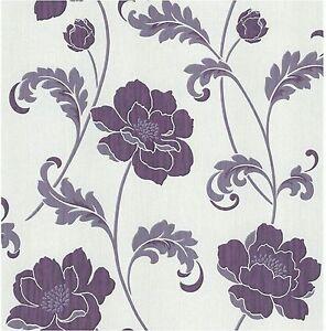 Feine-Dekor-FD20333-Luxury-Heavyweight-Classics-Blumen-Tapete-violett-Grau
