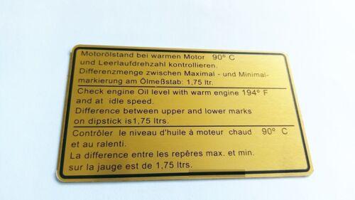 Huiles de vidange Stand-Autocollant-compartiment moteur pour tous les Porsche 911 Année de construction 81-89 93000650402
