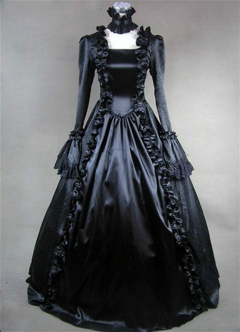 Lady Lolita Victorian Gothic Dress Ruffle Steampunk Evening Vintage Costume b88