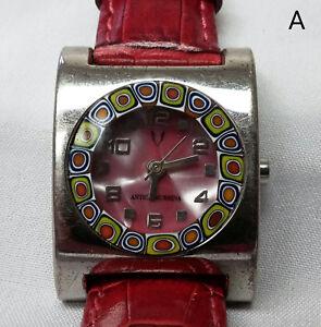 Vintage-Antica-Murrina-Queen-Designer-Watch-Women-039-s-Ladies-Red-Band-Pink-Face