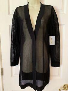 NWT $470 Exclusively Misook Size M Medium Knit Cardigan Sweater Jacket Black