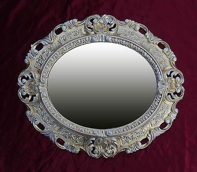 Espejos Arte Y Antigüedades Logical Espejo De Pared Espejo Oro Plata Ovalado 45 X 38cm Barroca Antiguo Reproducción