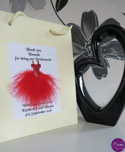 Wedding Feather Dress Glossy Small Gift Bag Personalised Flower Girl Bridesmaid