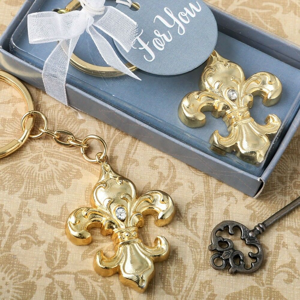 60 Fleur De Lis Paris or Keychain Wedding Bridal Baby Shower Party Favors