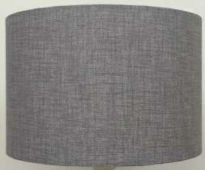 Silver Grey Drum Lampshade Fabric Lamp Shade Uk Made Textured Linen Lampshade Ebay